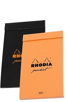 2 - Rhodia Pocket Pad Dot Paper Notebooks - 3 X 4 - 1 Orange 1 Black - 8550