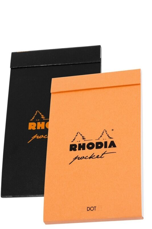 2 - RHODIA Pocket Pad Dot Paper Notebooks - 3 x 4 - 1 Orange & 1 Black - #8550