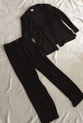 Citiknit Medium Set Pants Padded Shoulder Shall Top Blouse 3 Piece Set Floral