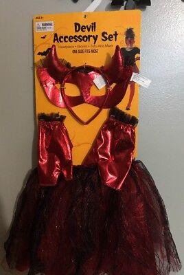 Little Girl's Devil Accessory Costume Set One Size -Horns, Gloves, Tutu & Mask ](Girl Devil Costume)
