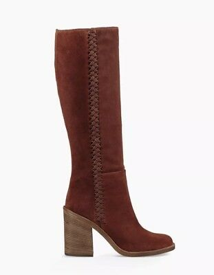 Mahogany Suede Boot (NIB $325 Ugg Maeva Boot Suede Whipstitch Tall Mahogany Knee High Boots Size)