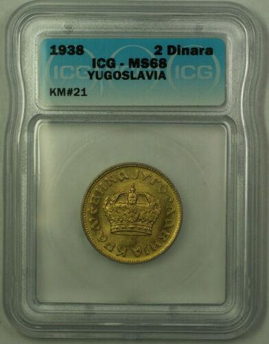 1938 Yugoslavia Petar II 2 Dinars Coin ICG MS-68 KM#21 (A)