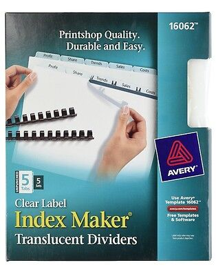 Avery Clear Unpunched Index Maker Translucent Divider 16062 5 Tab 5pk Avery Index Maker Translucent Dividers