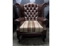 Stunning Chesterfield Queen Anne Wing Back Chair Brown Leather - UK Delivery