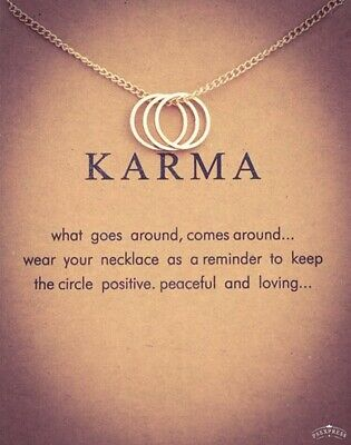 Karma Gold Colour Three Circle Necklace With Gift Card
