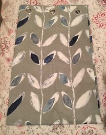 Blue & grey eyelet curtains