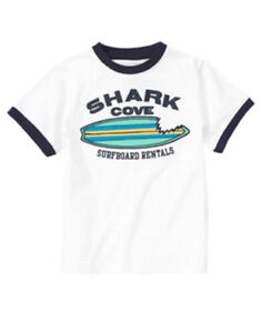NEW GYMBOREE boys SHARK PATROL top shirt size 4 5 6 7 white blue summer NWT