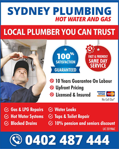Hot water replacement -installation- Repairs Sydney plumbing gas Sydney City Inner Sydney Preview