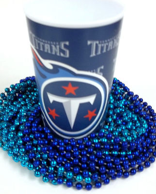 Tennessee Titans 22 oz Cup 12 Mardi Gras Beads Blue Tailgate - Mardi Gras Plastic Cups
