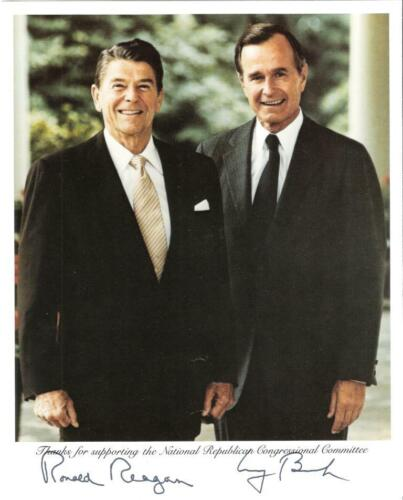 Printed Autographed Photo of Ronald Reagan and George Bush