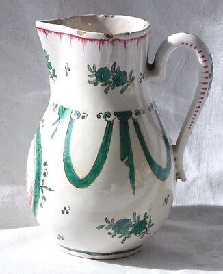 C18TH SCEAUX FRENCH FAIENCE HAND PAINTED CHERUB JUG