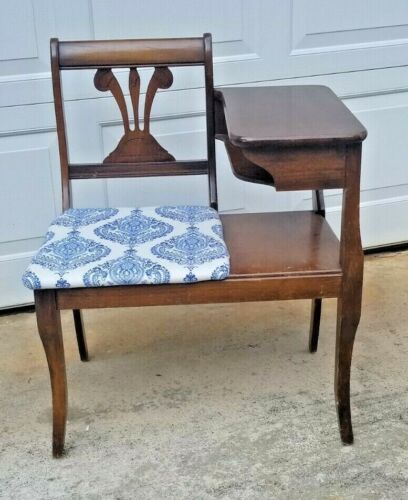 Vintage Wood Gossip Bench, Telephone Table With Chair, Mid-1950's