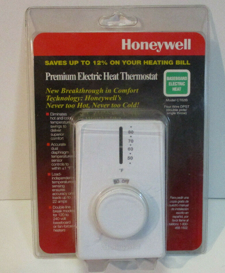 Honeywell CT62B1015 CT62B Electric Baseboard Thermostat, Whi