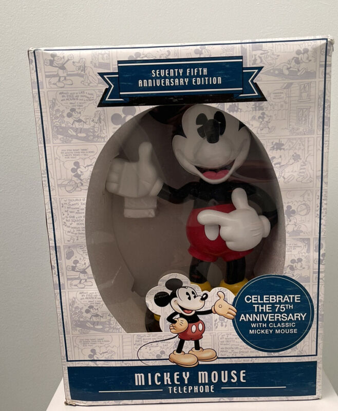 """75th Anniversary 13"""" Micky Mouse Animated Talking Telephone, New In Box 2004"""