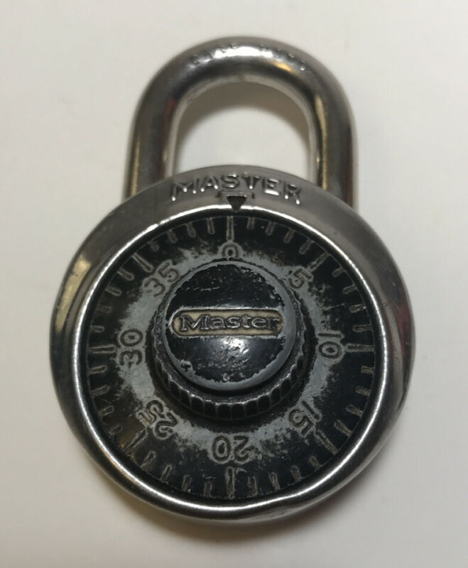 Vintage Master Lock Combination Padlock With Combination Numbers