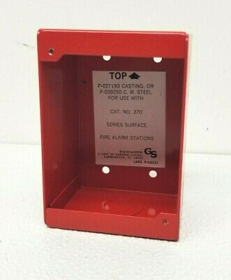 Vintage Edwards Fire Alarm Pull Station Surface Mount Box Red 270