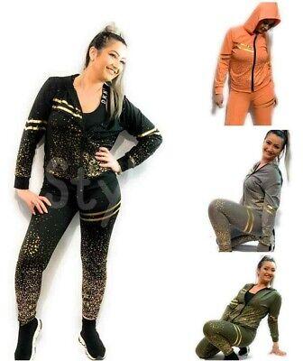 Women's Zip Tracksuit Hoodies Pants Set Ladies Lounge Wear Sport Gym Suit 2Pcs