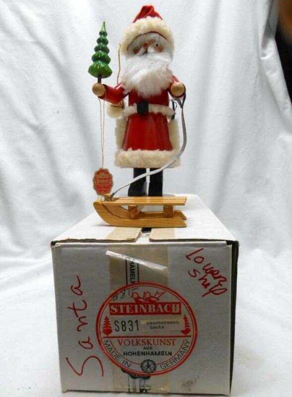 """1992 STEINBACH Smoker SANTA SMOKER with SLED & TAG & ORG BOX EXC! Stands 11 1/2"""""""