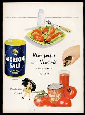 1949 Morton Salt girl with umbrella tomato salad art vintage print ad