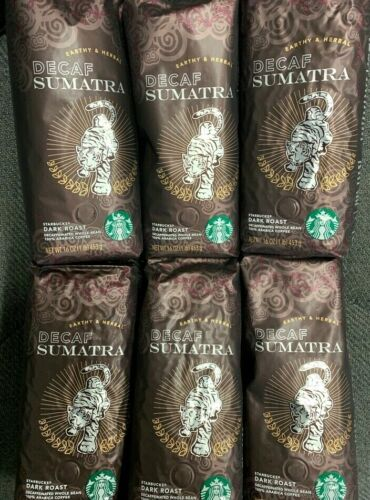 6 Pack Starbucks Decaf Sumatra Dark roast 16oz Each whole Bean EXP Jul/2020