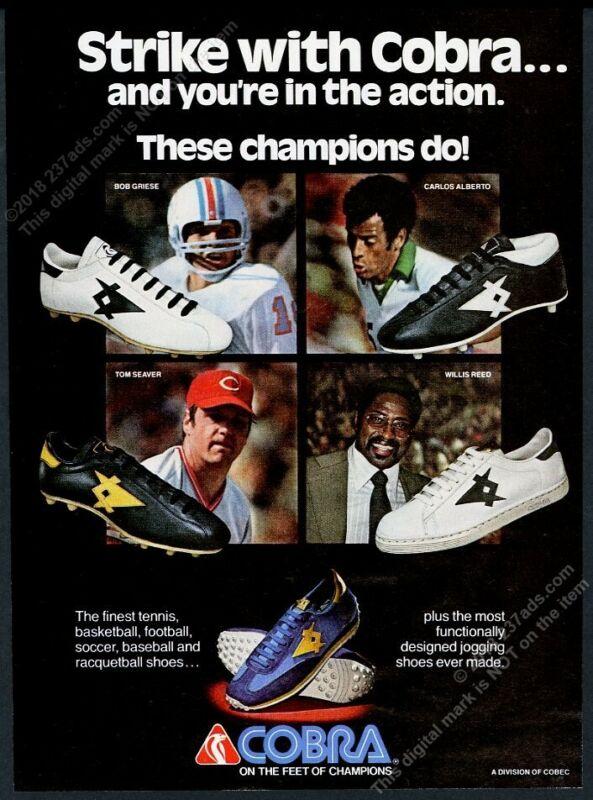 1979 Cobra cleats shoes Carlos Alberto Tom Seaver Willis Reed photo print ad