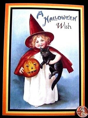 Little Girl Witch Black Kitten Cat Jack o Lantern Halloween Greeting Card UNUSED - Halloween Cat Girl Anime
