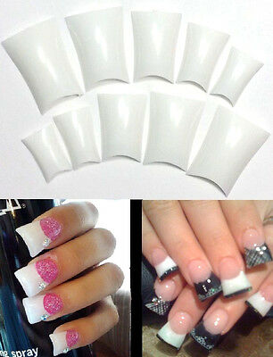 BUY2GET1FREE! WHITE Duck French Nail Tips Flare False 20pc Nails Acrylic UV Gel