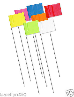 NEW CH Hanson Wire Marking Surveyor Flag Survey Flags 100pk Day Glo Colors -