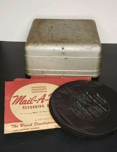 Vintage Mail-A-Voice Recorder/Player with over 65 blank records