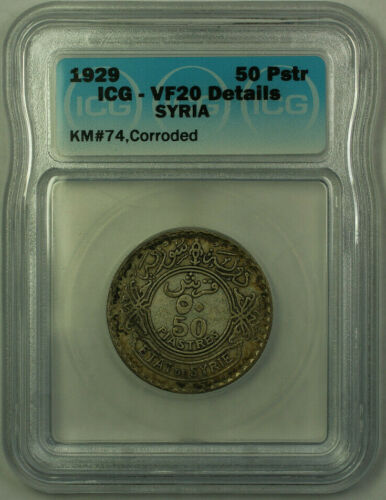 1929 Syria 50 Piastres Coin ICG VF-20 Details, Corroded, Rim Toning KM#74