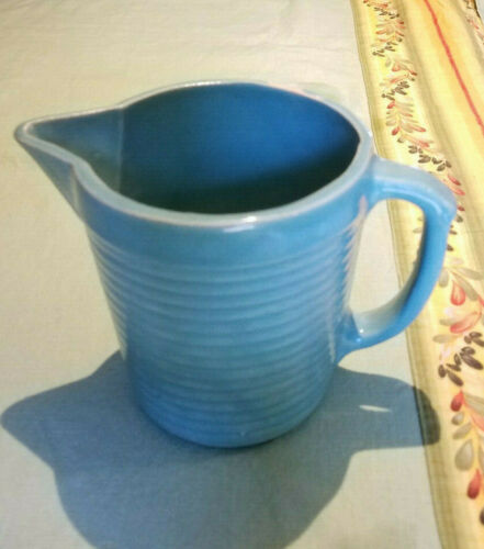 VINTAGE MONMOUTH TURQUOISE PITCHER/BATTER JUG RIBBED POTTERY/STONEWARE