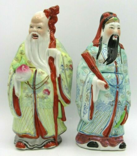 Chinese Gods Fuk & Sau Longevity Immortal Peach & Good Luck Porcelain Figurines