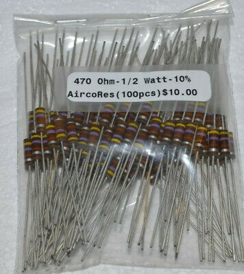 100pk - 470 Ohm - 12w - 10 Resistors - Airco