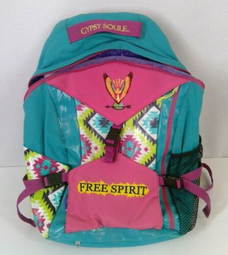 Gypsy Soule Free Spirit Backpack Multi Pockets South Western Pattern Pink Teal