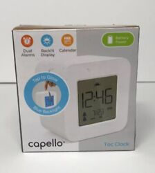 Capello Tac Clock - White dual Alarms backlit Display Calender battery power