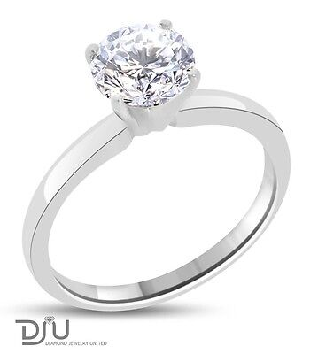 0.91 CT G/SI2 ROUND DIAMOND SOLITAIRE ENGAGEMENT RING 14K WHITE GOLD on Rummage