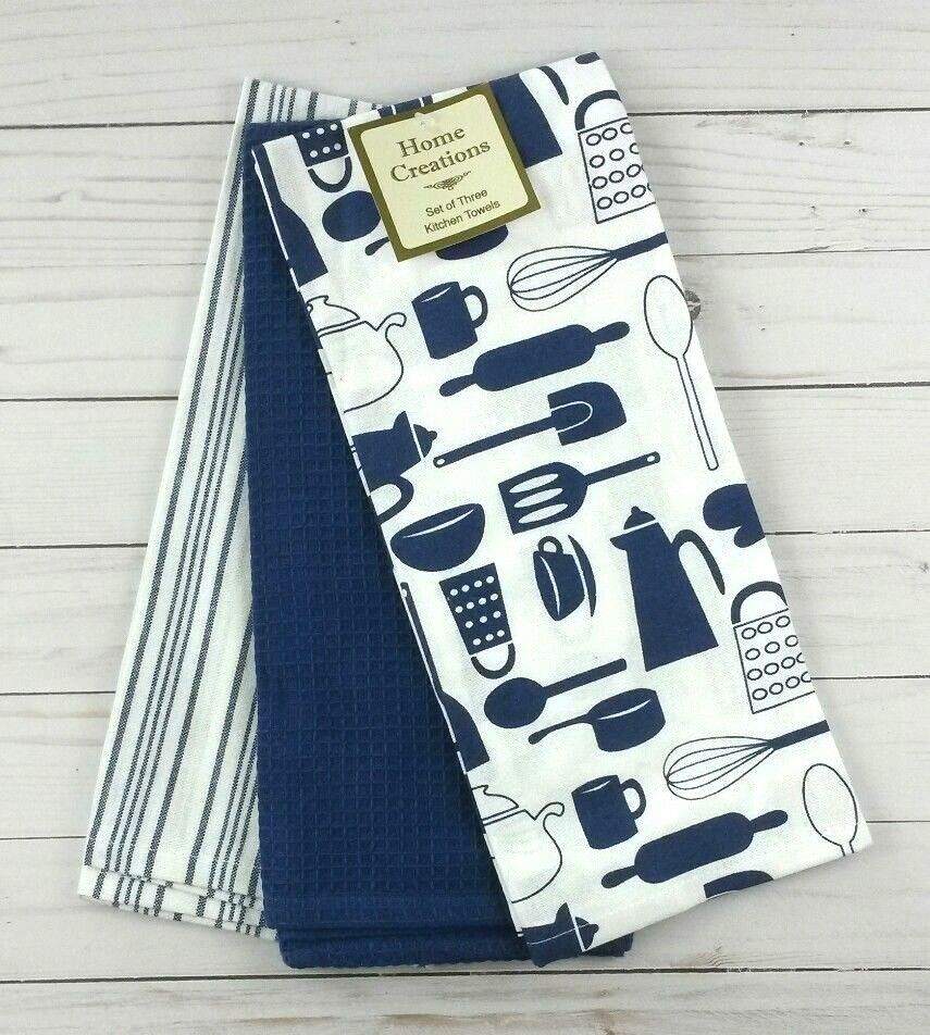 Kitchen Towels Blue Pots Pans Utensils Set of 3
