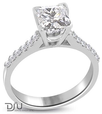 1.00 CT G/VS2 PRINCESS DIAMOND SOLITAIRE ENGAGEMENT RING 14K WHITE GOLD on Rummage