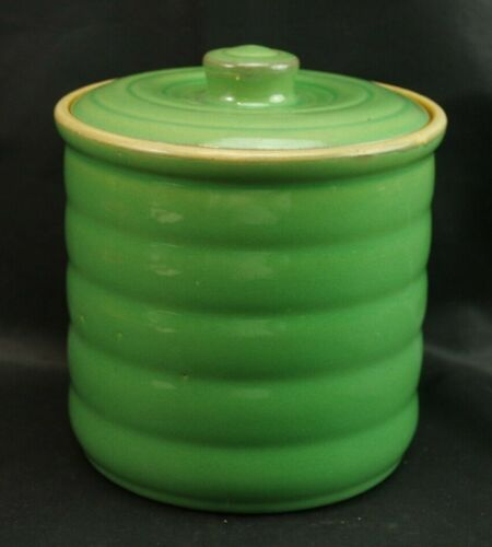Vintage Unmarked Green Pottery Covered Canister