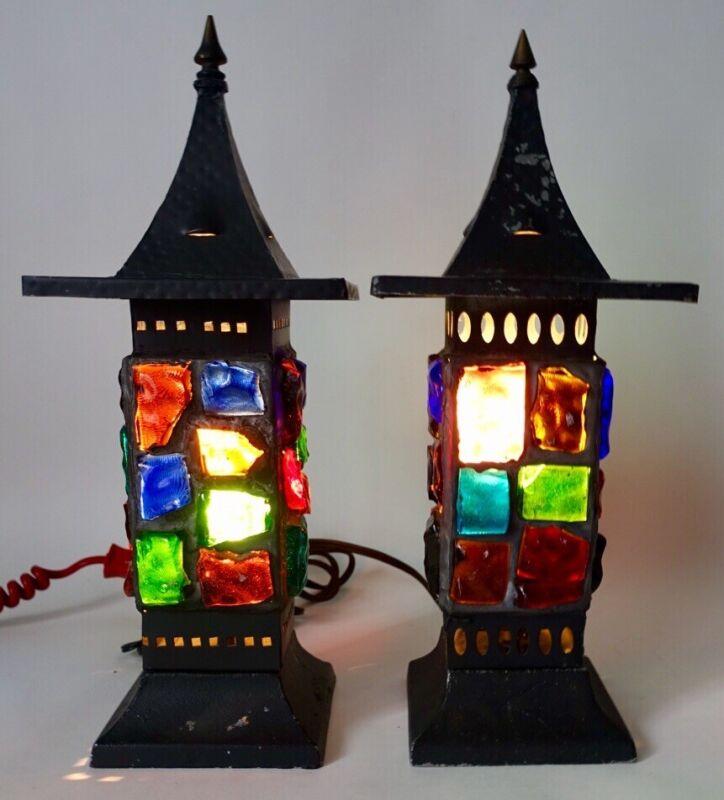 Lot of 2 Vtg Mid Century Modern Nader Chunky Slag Glass Tin Accent Lantern Lamps