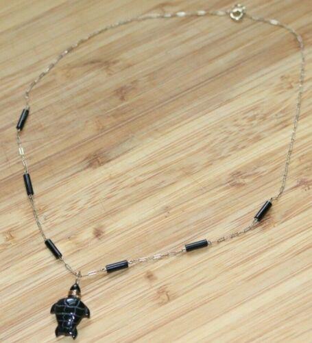BERNARD K PASSMAN BLACK CORAL Sea Turtle Pendant 14k Chain Necklace Signed