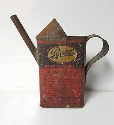 Antique Pyrene fire extinguisher Fluid Can Tin RARE! Fireman Firefighter