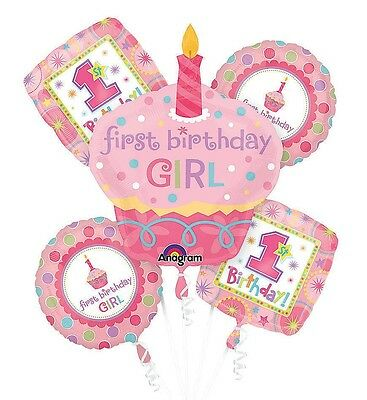 1st Year Old Girl Birthday Balloon Bouquet First Birthday Party Supplies - 5pc  - 1 Year Old Birthday Party Supplies