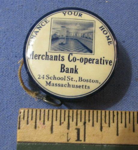 VINTAGE MERCHANTS CO OPERATIVE BANK BOSTON MA ADVERTISING CELULOID TAPE MEASURE