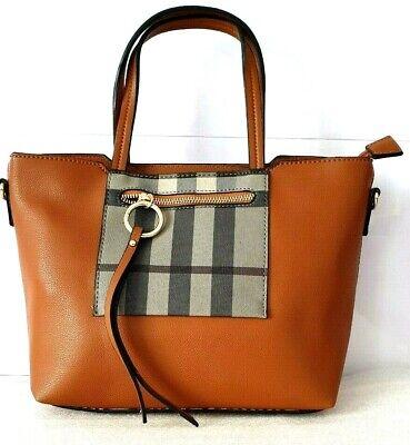 New Ladies Women Burberry Check Printed Handbag Shoulder Evening Bag Brown