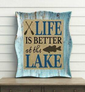 LIFE IS BETTER AT THE LAKE ~ 100% BURLAP ~ Lake House Decor ~ Lake House Sign