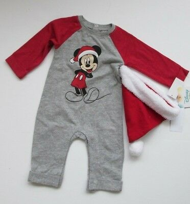 NWT-Infant Disney Mickey Mouse Santa One Pc Christmas Outfit-Newborn, 0-3, 3-6 M - Mickey Mouse Outfit