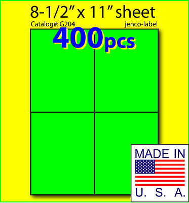 G204 400 Green Fluorescent Shipping Label4-14x5-12