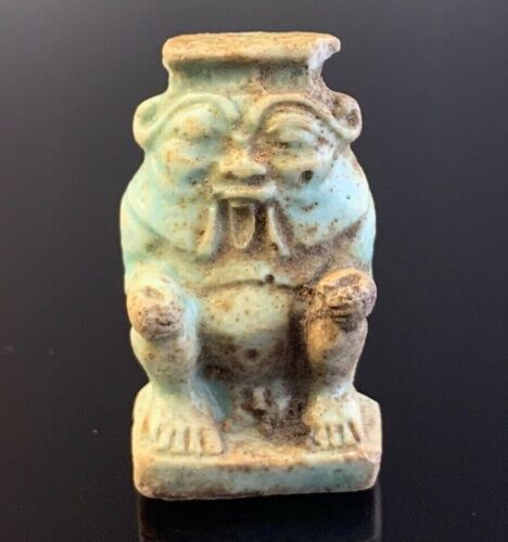 ANCIENT EGYPTIAN FAIENCE AMULET OF GOD BES; 18TH DYNASTY 1550-1292 BC!!