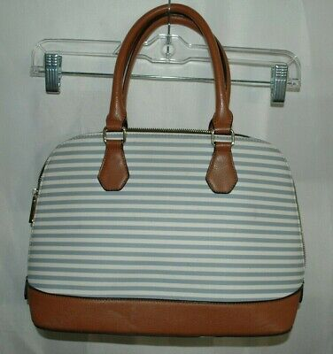 Aldo Women's Handbag Purse Light Blue and White Stripped With Brown Handle.